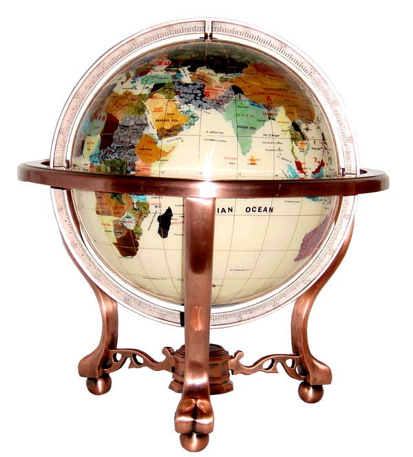 Ivory Jasper Ocean 6-in. Gemstone Globe