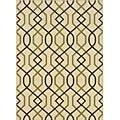 "Ivory/Brown Geometric-Print Outdoor Rug (8'6"" x 13')"