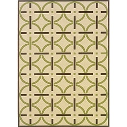 Ivory/ Brown Outdoor Rug (8'6 x 13')