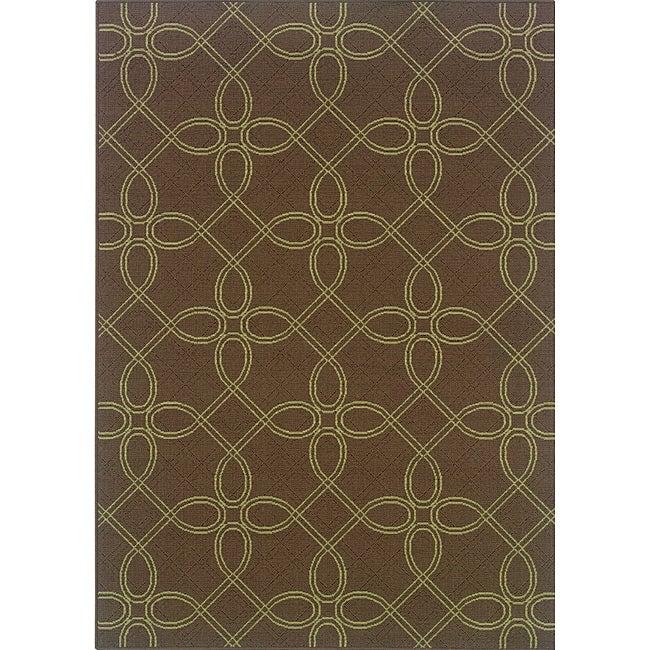 Brown/ Green Outdoor Area Rug (8'6 x 13')