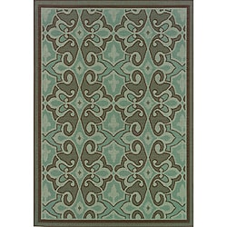 Blue/Brown Abstract Outdoor Area Rug (8'6 x 13')