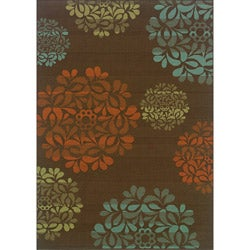 Brown/ Blue Polypropylene Outdoor Area Rug (8'6 x 13')
