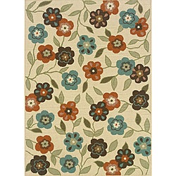 Ivory/Brown Floral Outdoor Area Rug (8'6 x 13')
