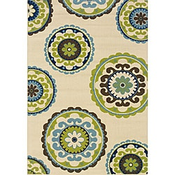 Modern Ivory/Green Outdoor Area Rug (8'6