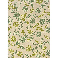 Contemporary Ivory/Green Outdoor Area Rug (8'6 x 13')