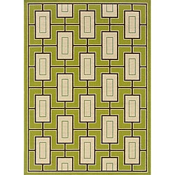 "Green/Ivory Outdoor Geometric Area Rug (8'6"" x 13')"