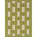 Green/Ivory Outdoor Geometric Area Rug (8'6