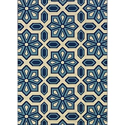 Ivory/Blue Outdoor Geometric Area Rug (8'6