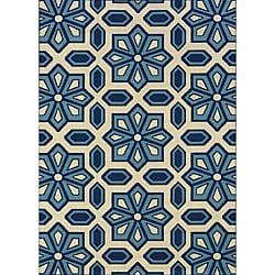 "Ivory/Blue Outdoor Geometric Area Rug (8'6"" x 13')"
