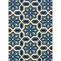 Ivory/Blue Outdoor Geometric Area Rug (8'6