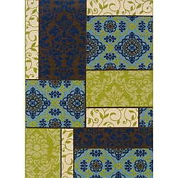 Brown/ Blue Outdoor Area Rug (8'6 x 13')