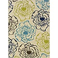 Large Ivory/Green Outdoor Area Rug (8'6 x 13')