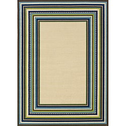 Ivory and Blue Outdoor Area Rug (8'6 x 13)