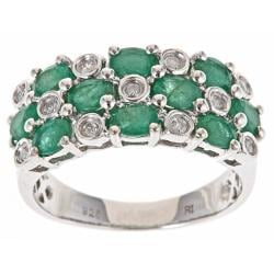 D'Yach Sterling Silver Zambian Emerald and 1/6ct TDW Diamond Ring (G-H, I1-I2)