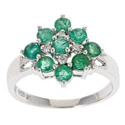 D'Yach Sterling Silver Zambian Emerald and Diamond Ring