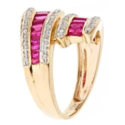 D'Yach 14k Yellow Gold Thai Ruby and 1/6ct TDW Diamond Bypass Ring (G-H, I1-I2)
