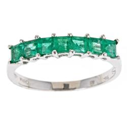 D'Yach 14k White Gold Square-cut Zambian Emerald Ring