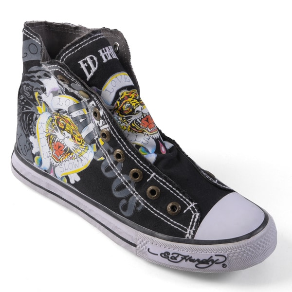 Ed Hardy Women's Highrise Graphic Print Slip-On Black Sneakers
