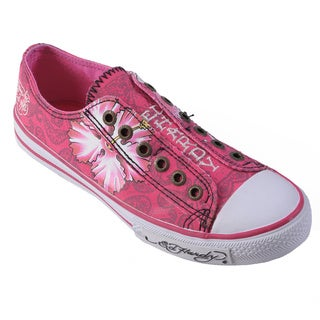Ed Hardy Women's Fuchsia Low-Rise Graphic Print Slip-On Sneakers
