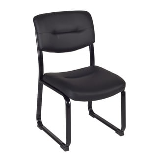 Regency Armless Leather Crusoe Side Chair