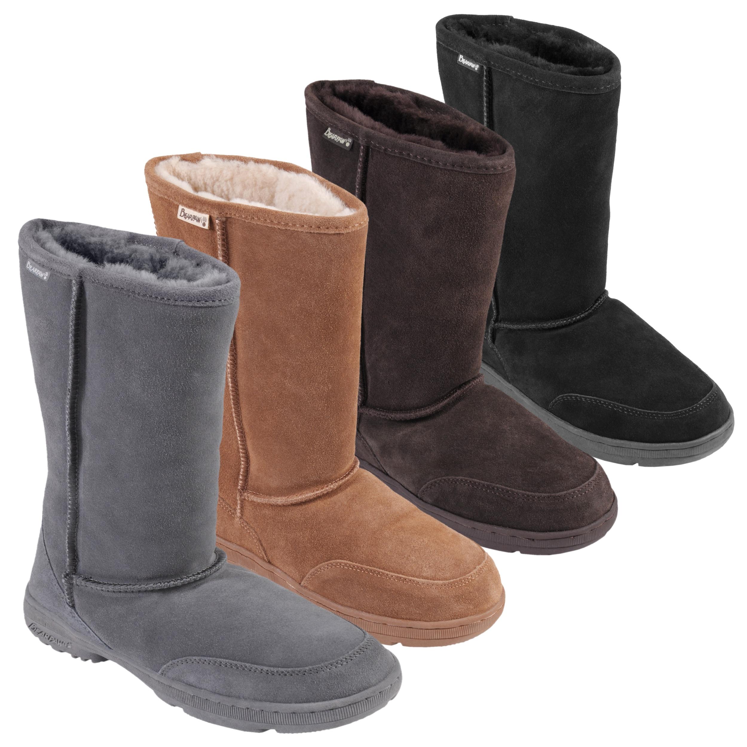 Bearpaw Womens Meadow 10-inch Sheepskin-lined Lug Sole Suede Boot