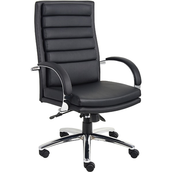 Boss Executive Ribbed Chair in Black Caresoft Plus