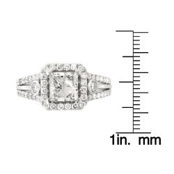 Montebello 14k White Gold 2 2/5ct TDW Princess-Cut Diamond Engagement Ring (G-H, SI2)