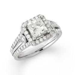 14k White Gold 2 2/5ct TDW Princess-Cut Diamond Engagement Ring (G-H, SI2)