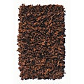 Premium Leather Shag Dark Brown Area Rug (3'6 x 5'6)