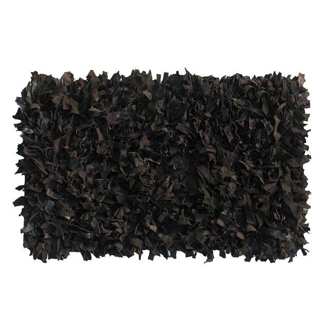 Premium Leather Shag Area Rug (8'x10') Black