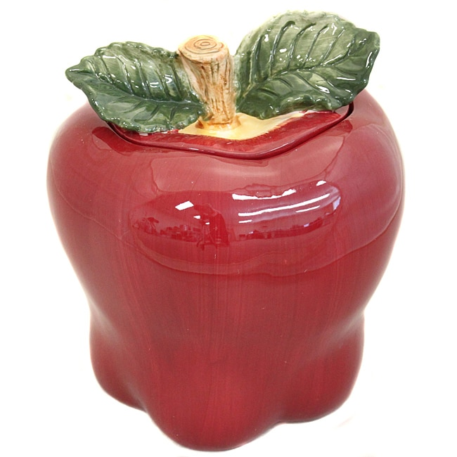 Red Apple Collection Hand-painted Cookie Jar