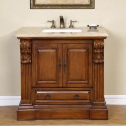 Silkroad Exclusive Travertine Stone Top Bathroom Single Vanity Lavatory Sink Cabinet (38.5-inch)
