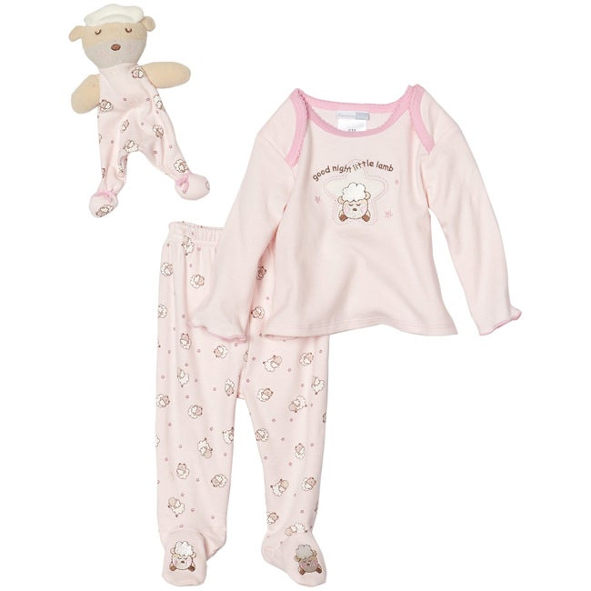 Vitamins Baby Girls Little Lamb Footed Pajama Set with Blanket Buddy