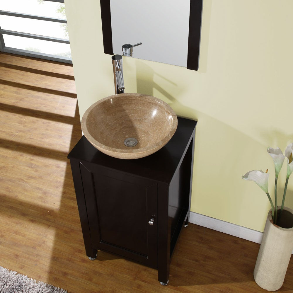 ... Bathroom Stone Vessel Vanity Lavatory Single Sink Cabinet (19-inch