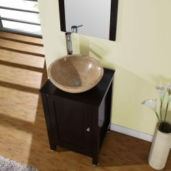 Silkroad Exclusive Modern Bathroom Stone Vessel Vanity Lavatory Single Sink Cabinet (19-inch)