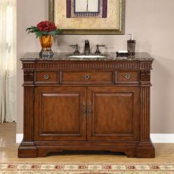 Silkroad Exclusive 48-inch Stone Top Bathroom Vanity Lavatory Single Sink Cabinet