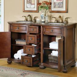 Silkroad Exclusive Granite Stone Top 52-inch Bathroom Vanity Double Sink Cabinet