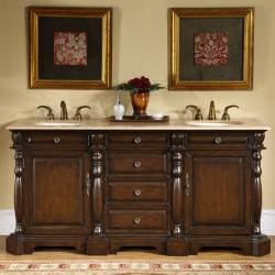 Silkroad Exclusive 72-inch Stone Countertop Bathroom Vanity Lavatory Double Sink Cabinet