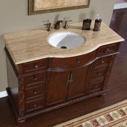 Silkroad Exclusive Marble Stone Top 48-inch Single Sink Cabinet Bathroom Vanity