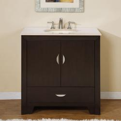 Silkroad Exclusive 36-inch Marble Stone Top Bathroom Vanity Lavatory Single Sink Cabinet
