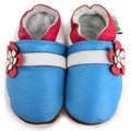 Blue Hawaii Flower Soft Sole Leather Slip-On Baby Shoes