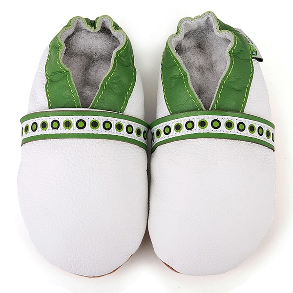 White and Green Lace Soft Sole Leather Baby Shoes