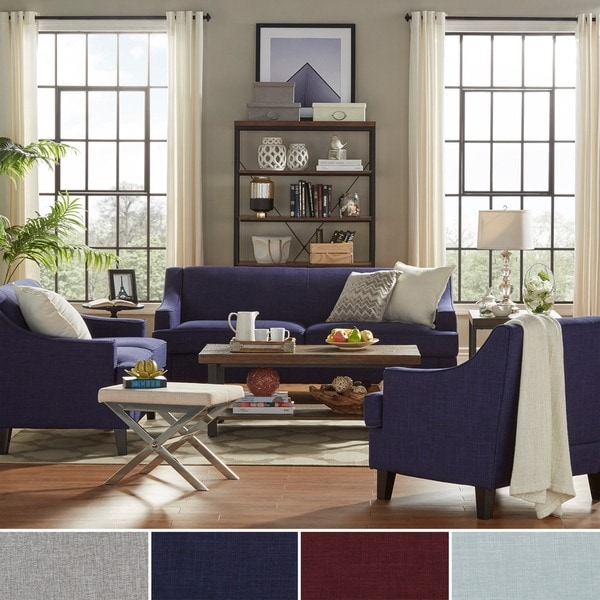furniture of america primavera modern 3 piece linen living room set