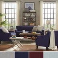 TRIBECCA HOME Winslow Taupe Concave Arm Modern 3-piece Living Room Set