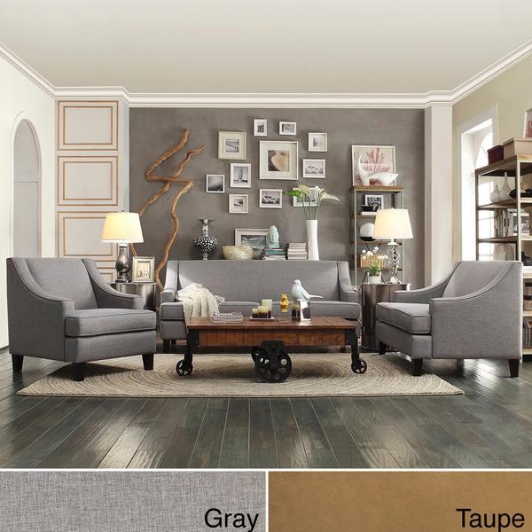 inspire q winslow concave arm modern 3 piece living room