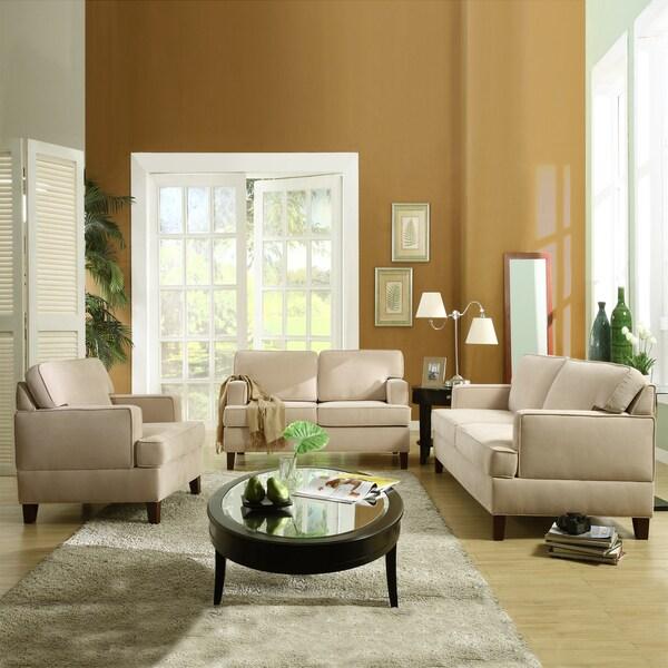 tribecca home stewart beige track arm modern 3 piece living room set