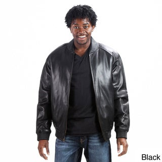 United Face Men's Premium Baseball Leather Bomber Jacket