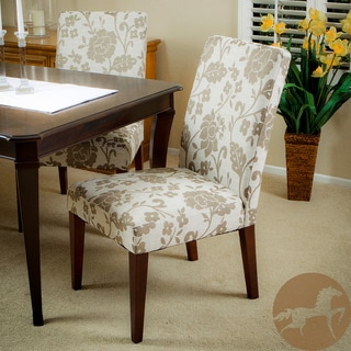Christopher Knight Home Tan Floral Print Dining Chairs (Set of 2)