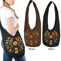 Cotton Floral Embroidered Zippered Shoulder Bag (Indonesia)