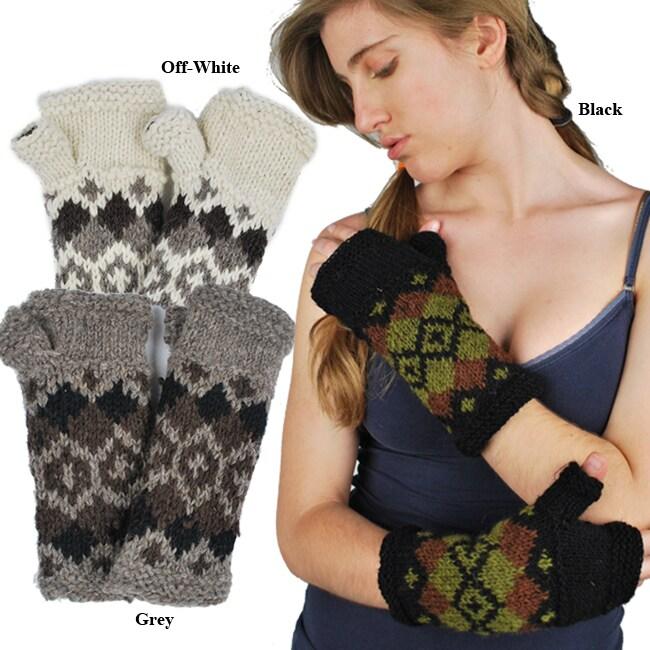 Wool Fleece-Lined Fall Knit Hand Warmer (Nepal)